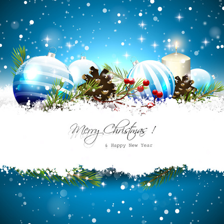 Ilustración de Christmas greeting card with blue baubles, branches,pinecones and berries on blue background - Imagen libre de derechos