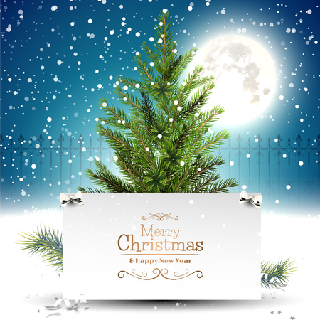 Christmas greeting card with Christmas tree in front of a night landscape