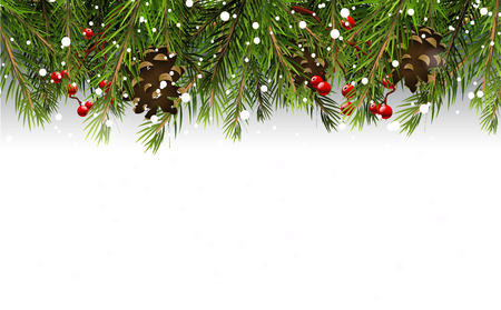 Illustration pour Christmas border with branches,pinecones and berries on white background - image libre de droit