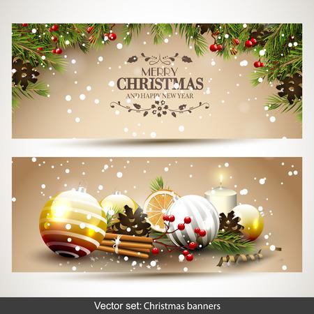Vector set of two Christmas banners