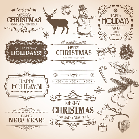 Christmas and New Year decoration collection. Vector set of calligraphic labels, hand drawn decorations, stickers, elements and emblems.