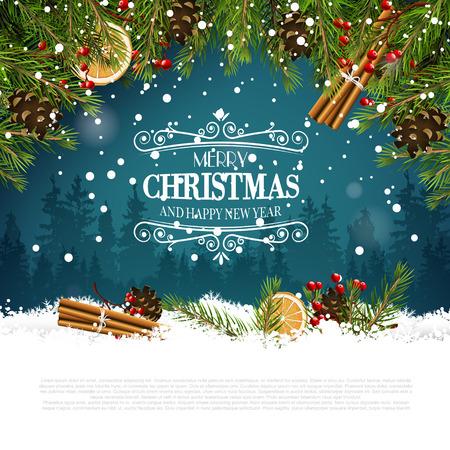 Ilustración de Christmas greeting card with traditional decorations and calligraphic lettering - Imagen libre de derechos