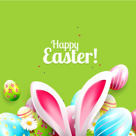 Illustration pour Easter greeting card with colorful eggs and bunny ears on green background - image libre de droit