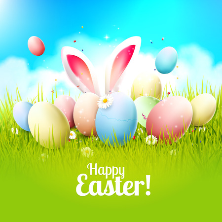 Illustration pour Easter greeting card with colorful eggs and bunny ears in the grass - image libre de droit