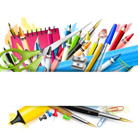 Foto de School background with school supplies on white background - Imagen libre de derechos