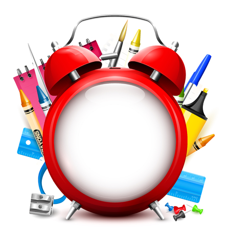 Illustration pour Back To School background - red alarm clock and school supplies with place for text - image libre de droit