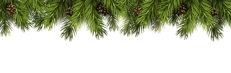 Illustration pour Christmas border with fir branches and pine cones on white background - image libre de droit