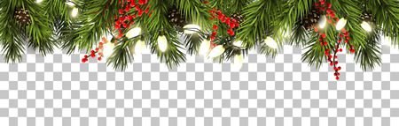 Illustration for Christmas border with fir branches, pine cones, berries and lights - Royalty Free Image