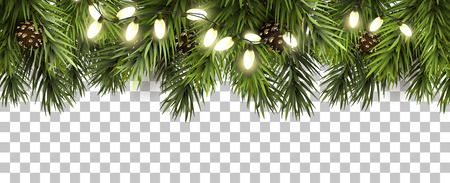 Illustration for Christmas border with fir branches and pine cones on transparent background - Royalty Free Image