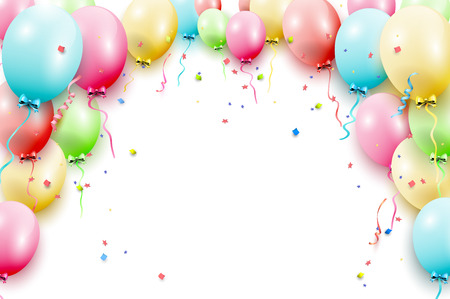 Illustration for Birthday template with colorful birthday balloons on white background - Royalty Free Image