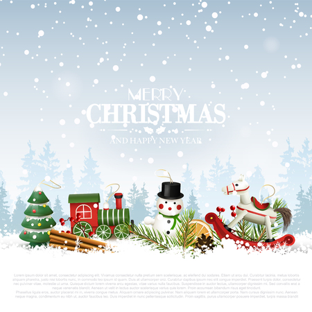 Illustration pour Traditional Christmas background with wooden toys decorations in front of winter landscape - image libre de droit