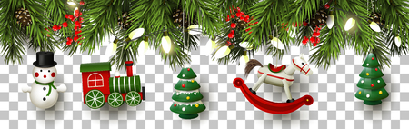 Illustration pour Christmas border with branches and Christmas toys decorations - image libre de droit