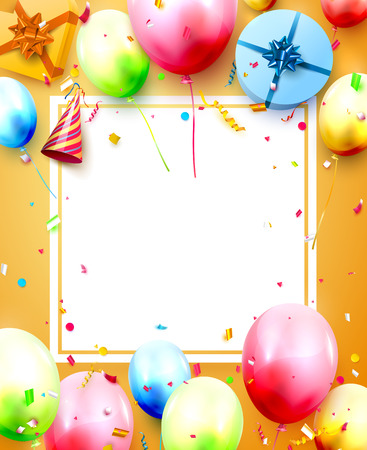 Illustration for Happy birthday party template with colorful balloons, gift boxes and confetti on orange background. Space for your text - Royalty Free Image