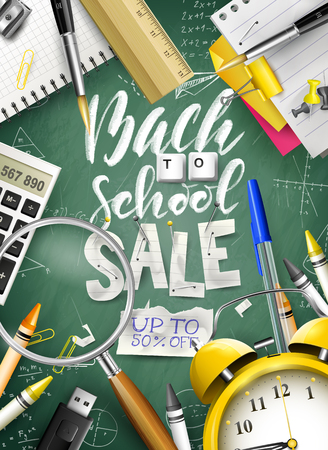 Back to school sale concept with with stationery on green chalkboard. Promotion campaign template.
