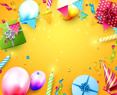 Illustration for Happy birthday party template with colorful balloons, candles, gift boxes and confetti on orange background. Space for your text - Royalty Free Image