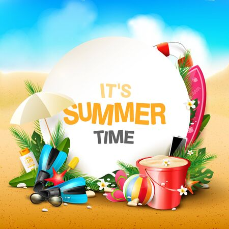 Illustration pour Summer time blackground with beach elements in the sand. Space for text - image libre de droit
