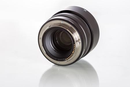 G-mount lenses for Fujifilm GFX 50S, 51 megapixels, medium format sensor digital camera on white reflecting background