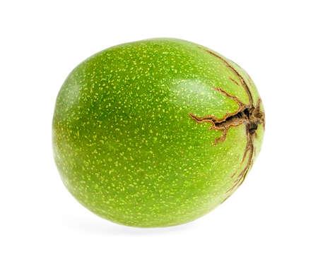 Green walnut on a white background