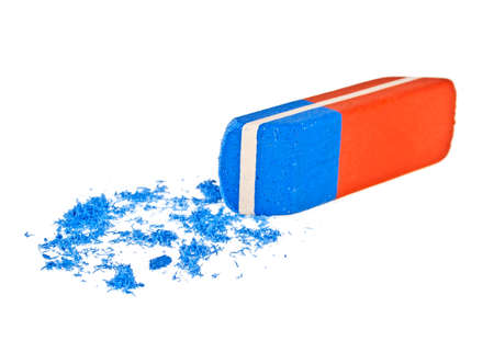 Photo pour Colored office eraser on a white background - image libre de droit