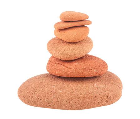 Photo pour Balanced red stones isolated on a white background. Zen stones. Spa concept. - image libre de droit