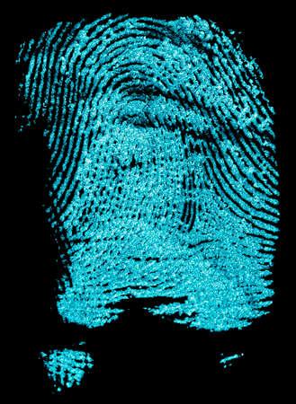 Photo for Fingerprint with ultraviolet lamp. Fingerprint on a black background. Concept of crime scene. - Royalty Free Image