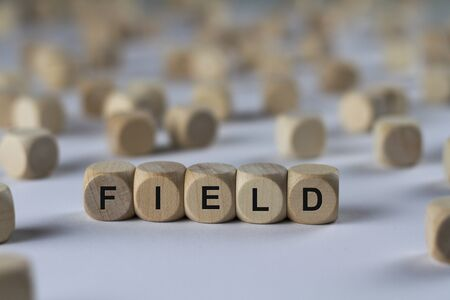field - cube with letters, sign with wooden cubes