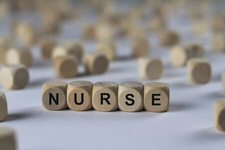 nurse - cube with letters, sign with wooden cubes
