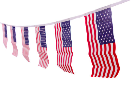 A chain  garland bunting of USA flags hanging proudly for July 4 Independence Day