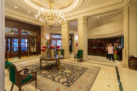 PARIS - SEPT 24, 2018: Lobby of the famous Intercontinental Le Grand Hotel, Paris