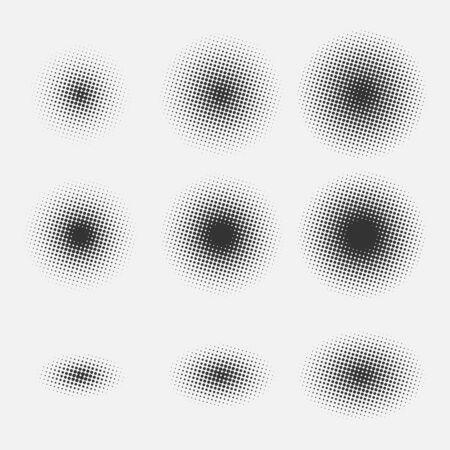 Illustration pour Set of round halftone gradients isolated on gray background. Black spots. Vector illustration. - image libre de droit