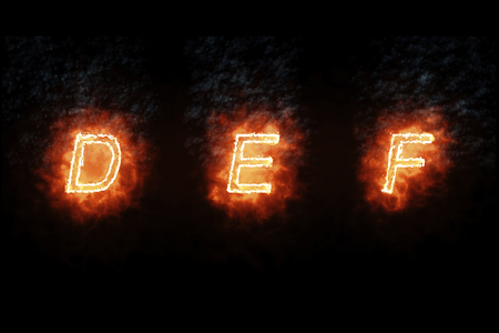 burning font d, e, f, fire word text with flame and smoke on black background, concept of fire heat alphabet decoration text