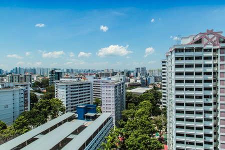 Photo pour Singapore-17 OCT 2017: Singapore HDB residential building area aerial view - image libre de droit