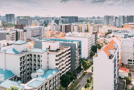 Foto de Singapore-16 JUN 2018:Singapore Geylang area residential building aerial view - Imagen libre de derechos
