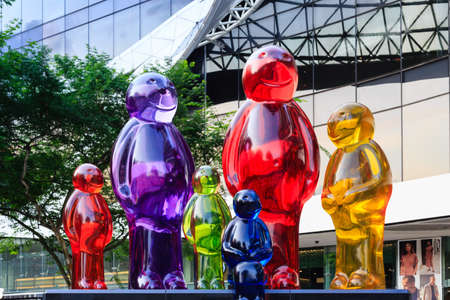 Photo for Singapore-04 MAY 2018:Colorful of Statues in front of Plaza singapura shopping mall - Royalty Free Image
