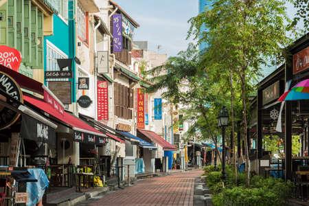 Photo for Singapore-18 NOV 2017:Singapore Clarke Quay area vintage shop street view - Royalty Free Image