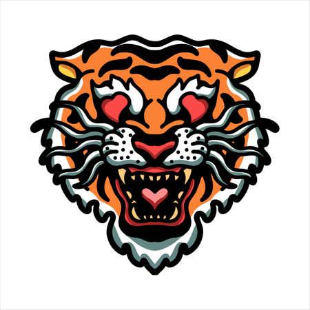 Illustration pour tiger in love vector design - image libre de droit