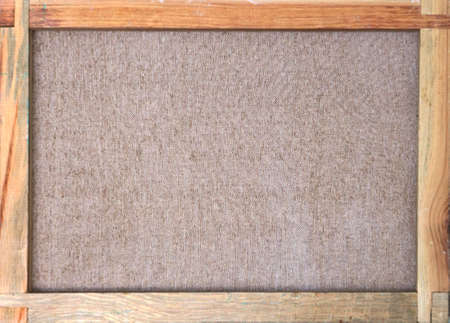 Photo for canvas with wooden frame and brown fabric texture - back side view - Royalty Free Image