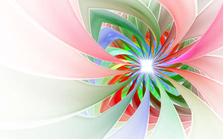 Spiral Petal Fireworks computer-generated image. Abstract fractal of Beautiful flower of ribbons. Background for wallpaper, album, poster, booklet. Digital illustration for creative graphic design.