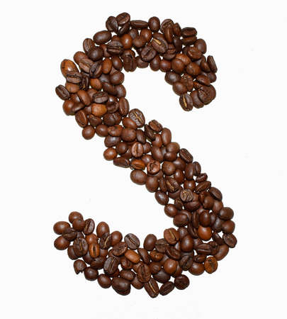Foto de English Coffee Alphabet isolated on white. Roasted coffee beans. ?offee letter - S - Imagen libre de derechos