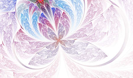 Foto de Beautiful diagonal fractal flower. Multicolored symmetrical Butterfly in stained glass style. Element of decor. Artwork for creative design, art and entertainment. Computer generated graphics. - Imagen libre de derechos