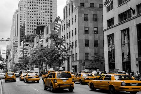 New York City Taxi Streets USA Skyline the Big Apple Black white yellow 2