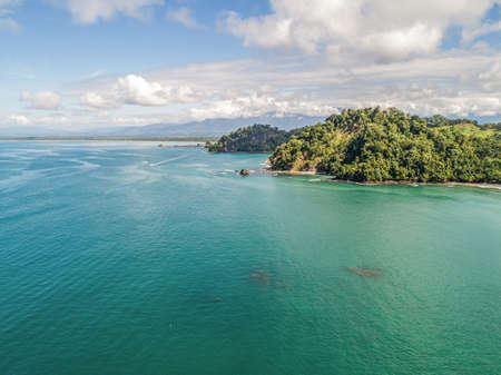 Aerial View of Tropical Biesanz beach and Coastline near the Manuel Antonio national park, Costa Rica