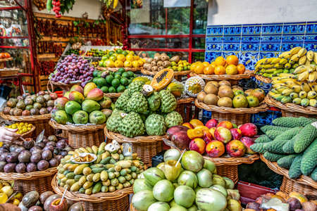 Foto für Fresh exotic fruits on famous market in Funchal Mercado dos Lavradores Madeira island, Portugal - Lizenzfreies Bild