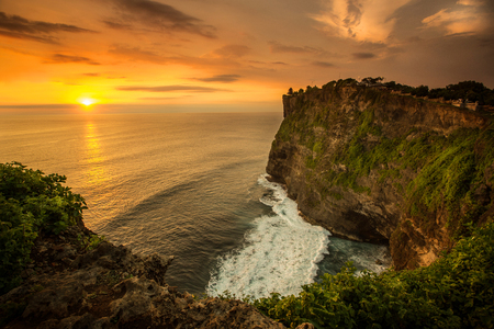 Beautiful Sunset at Uluwatu temple Bali Indonesia