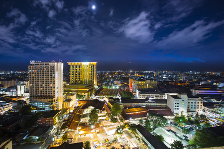 Top view of Chiangmai city Scape at Night Thailand