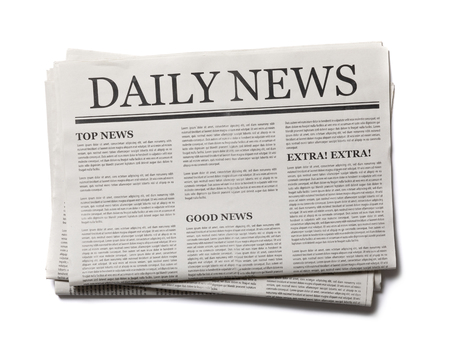 Photo pour Business Newspaper isolated on white background, Daily Newspaper mock-up concept - image libre de droit