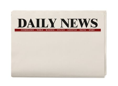 Photo for Blank Daily Newspaper isolated on white background, Daily Newspaper mock-up concept - Royalty Free Image