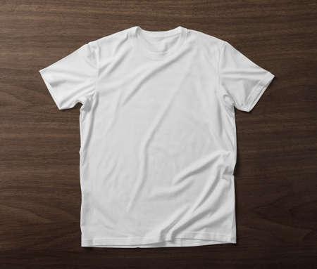 Photo pour Front side of T-Shirt mockup template on wooden background - image libre de droit