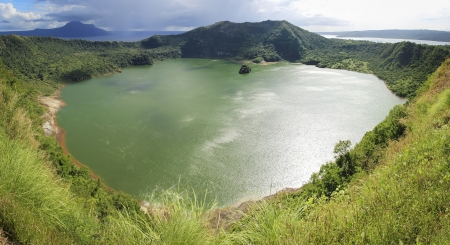 taal crater lake seen from the slopes of the highly active taal volcano tagaytay in the philippines