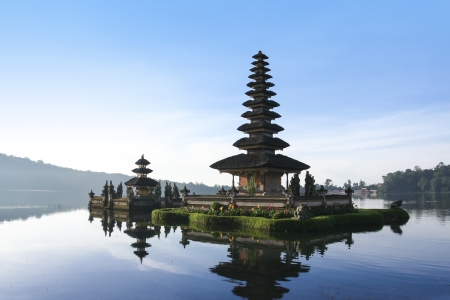 hindu temple Pura Ulun Danu on lake brataan in bedugal bali indonesia